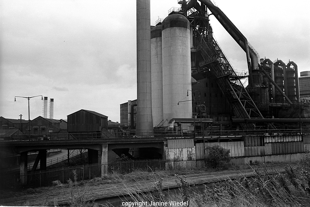 General view of Elizabeth Blast Furnace, Bilston Iron and Steel works, Wolverhampton, West Midlands 1978