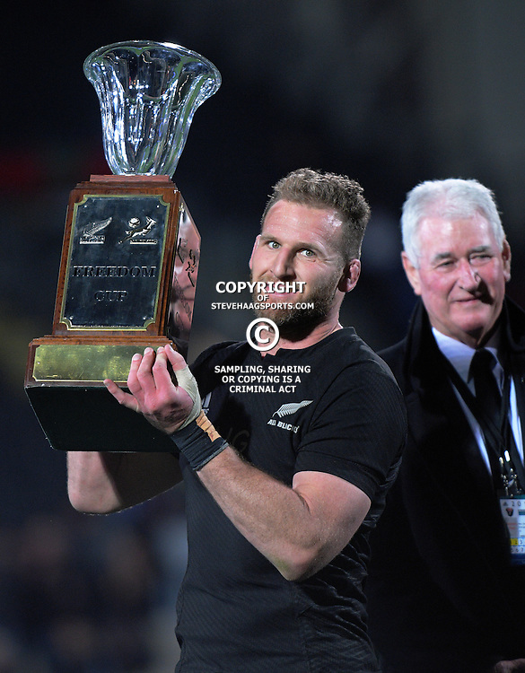 Kieran Read with the Freedom Cup after The Rugby Championship match between the NZ All Blacks and South Africa Springboks at AMI Stadium in Christchurch, New Zealand on Saturday, 17 September 2016. Photo: Dave Lintott / lintottphoto.co.nz
