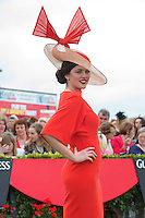 02/08/2012. Repro free first use. Sporting a hat of her own design, Aisling Ahern from Knockvickar, Boyle, Co. Roscommon was the winner of the Anthony Ryan's Best Hat Competition. The winning hat had an almond shape base with burnt orange structured bow. Photo:Andrew Downes..