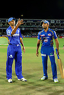 Rahul Dravid captain of Rajasthan Royals and Rohit Sharma captain of Mumbai Indians during the toss before the start of match 1 of the Karbonn Smart Champions League T20 (CLT20) 2013  between The Rajasthan Royals and the Mumbai Indians held at the Sawai Mansingh Stadium in Jaipur on the 21st September 2013<br /> <br /> Photo by Pal Pillai-CLT20-SPORTZPICS <br /> <br /> Use of this image is subject to the terms and conditions as outlined by the CLT20. These terms can be found by following this link:<br /> <br /> http://sportzpics.photoshelter.com/image/I0000NmDchxxGVv4