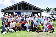 36 Sunfish sailors sailed around-the-island in the 2012 Harkers Island Regatta in the waters between Cape Lookout National Seashore and the Core Island Museum.