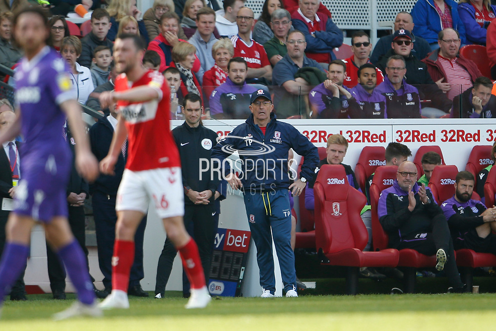 Middlesbrough Manager Tony Pulis during the EFL Sky Bet Championship match between Middlesbrough and Stoke City at the Riverside Stadium, Middlesbrough, England on 19 April 2019.