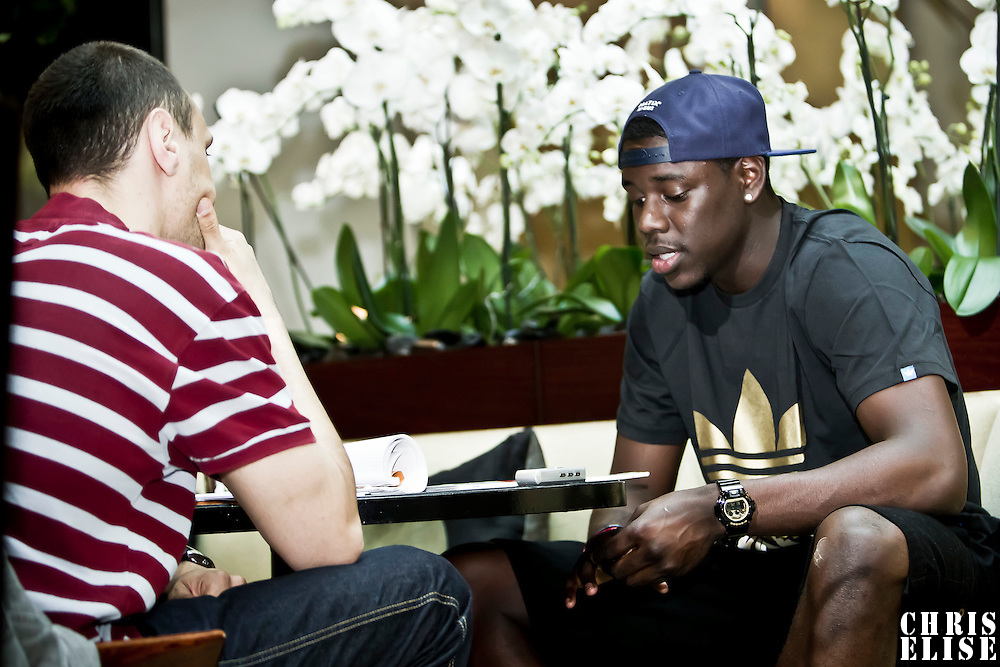 15 June 2011: Philadelphia Sixers Jrue Holyday is seen during an interview by french basketball magazine Reverse, at Park Hyatt hotel, in Paris, France.