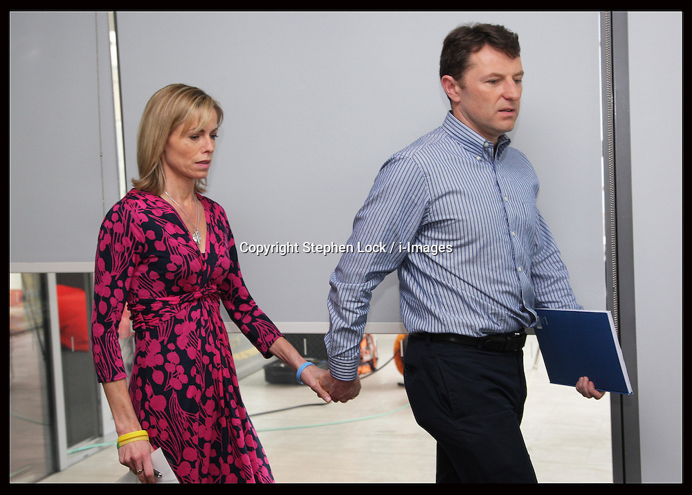 Kate McCann and Gerry McCann arriving at a  press conference in London, to mark the 5th anniversary  of their  daughter's Madeleine's disappearance, Wednesday, 2nd May 2012.  Photo by: Stephen Lock / i-Images