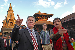 BHAKTAPUR, NEPAL - NOV-04-2006 - Karel De Gucht , Belgian Minister of Foreign Affairs visits the ancient city of Bhaktapur.