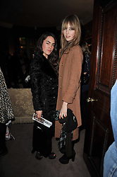 Left to right, TALLULAH ORMSBY-GORE and EDIE CAMPBELL at a screening of Charlotte Olympia's new film 'To Die For' held at Mark's Club, Charles Street, London W1 on 22nd February 2011.