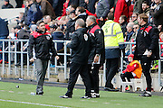 Bristol City striker Aaron Wilbraham (18) scores a goal 1-0 but it is disallowed by referee Graham Scott, Bristol City manager Lee Johnson and Bristol City assistant manager John Pemberton discuss with the fourth official during the EFL Sky Bet Championship match between Bristol City and Burton Albion at Ashton Gate, Bristol, England on 4 March 2017. Photo by Richard Holmes.