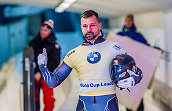 17.01.2020, Olympia Eiskanal, Innsbruck, AUT, BMW IBSF Weltcup Bob und Skeleton, Igls, Skeleton, Herren, 2. Lauf, im Bild Martins Dukurs (LAT) // Martins Dukurs of Latvia reacts after his 2nd run of men's Skeleton competition of BMW IBSF World Cup at the Olympia Eiskanal in Innsbruck, Austria on 2020/01/17. EXPA Pictures © 2020, PhotoCredit: EXPA/ Stefan Adelsberger