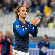 PARIS, FRANCE - September 10:   Antoine Griezmann #7 of France applause the supporters after the France V Andorra, UEFA European Championship 2020 Qualifying match at Stade de France on September 10th 2019 in Paris, France (Photo by Tim Clayton/Corbis via Getty Images)