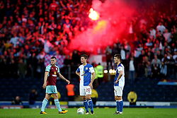 Burnley fans let off a flare inside Ewood Park after the opening goal was scored - Mandatory by-line: Matt McNulty/JMP - 23/08/2017 - FOOTBALL - Ewood Park - Blackburn, England - Blackburn Rovers v Burnley - Carabao Cup - Second Round