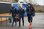 Bristol Rovers Ryan Broom (17) left and  Bristol Rovers Stuart Sinclair (24) arriving at the ground before the EFL Sky Bet League 1 match between Bristol Rovers and Doncaster Rovers at the Memorial Stadium, Bristol, England on 23 December 2017. Photo by Gary Learmonth.