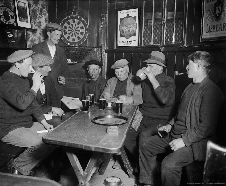 Men in Pub, prob. Jolly Sailor's Inn, West Looe, Cornwall, England, 1932