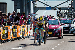 Breakaway with TJALLINGII  Maarten from the Netherlands of Team Lotto NL - Jumbo (NED) at the 1st lap (800M) from the finish line on the Airborneplein, stage 3 from Nijmegen to Arnhem running 190 km of the 99th Giro d'Italia (UCI WorldTour), The Netherlands, 8 May 2016. Photo by Pim Nijland / PelotonPhotos.com | All photos usage must carry mandatory copyright credit (Peloton Photos | Pim Nijland)