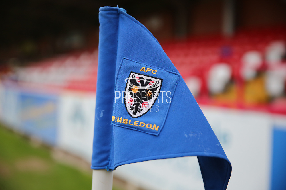 Corner flag during the EFL Sky Bet League 1 match between AFC Wimbledon and Rochdale at the Cherry Red Records Stadium, Kingston, England on 28 March 2017. Photo by Matthew Redman.
