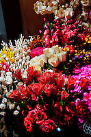 Wooden flowers Chatuchak Weekend Market Bangkok Thailand