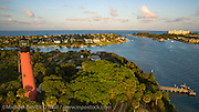 Aerial photograph of the Jupiter Inlet and Lighthouse in Palm Beach County, Florida, United States.