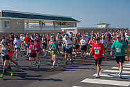 Spring Lake, NJ -- May 28, 2016. Runners on Ocean Avenue at the beginning of the annual Spring Lake 5K run.