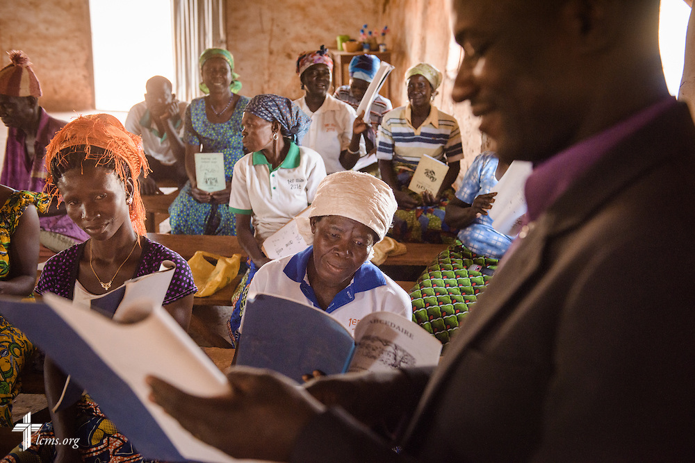 The Rev. Remi Lare Lambon, pastor in the Lutheran Church of Togo, leads a literacy project class at the Lutheran Church of Togo in Kpierik on Tuesday, Feb. 14, 2017, in Kpierik, Togo. LCMS Communications/Erik M. Lunsford