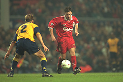 Liverpool, England - Wednesday, November 27th, 1996: Liverpool's Robbie Fowler in action against Arsenal's Lee Dixon during the 4-2 victory during the 4th Round of the League Cup at Anfield. (Pic by David Rawcliffe/Propaganda)