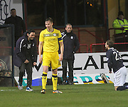 Dundee manager Paul Hartley shares a laugh with Martin Boyle after the Dundee striker had been fouled - Dundee  v Queen of the South - SPFL Championship at Dens Park<br /> <br />  - &copy; David Young - www.davidyoungphoto.co.uk - email: davidyoungphoto@gmail.com