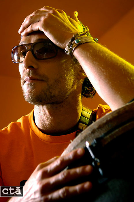 """Actor and bongo player Matthew McConaughey during a promotional tour for the movie """"Sahara."""" McConaughey traveled the United States stopping at theaters to promote the summer blockbuster."""