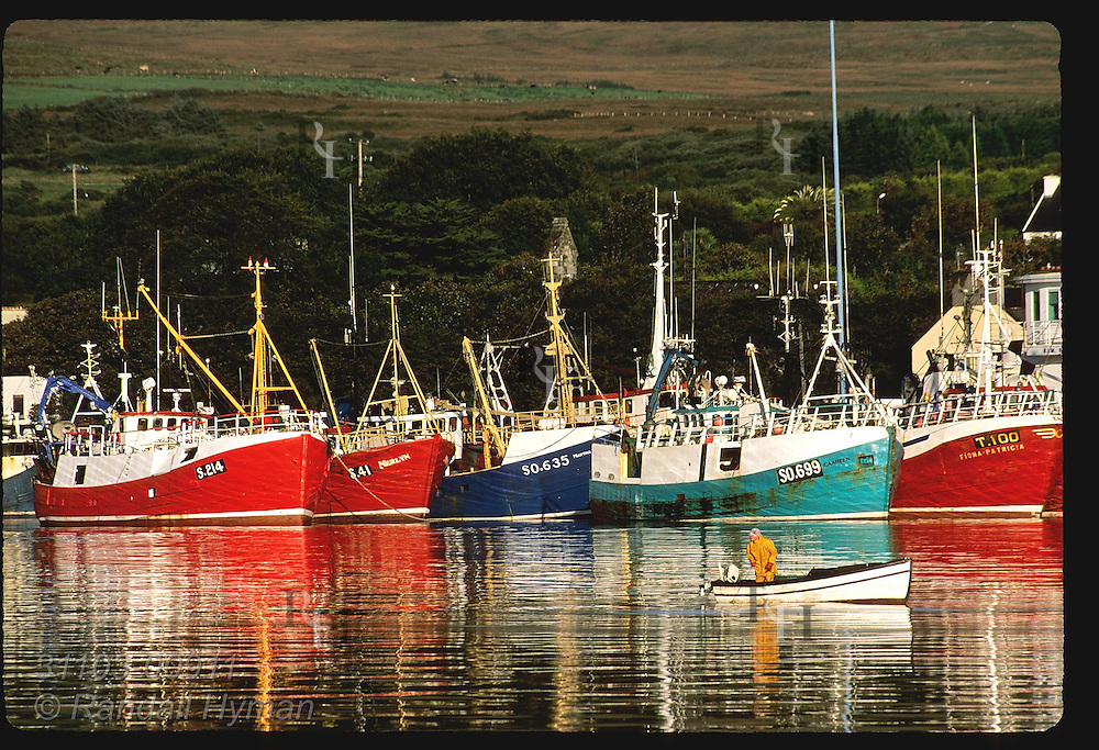 Fisherman in small skiff tends lobster pots in Castletownbere harbor framed by row of fishing boats; Beara Peninsula, Ireland.