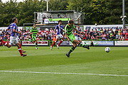 Forest Green Rovers Christian Doidge(9) shoots at goal misses the target during the EFL Sky Bet League 2 match between Forest Green Rovers and Exeter City at the New Lawn, Forest Green, United Kingdom on 9 September 2017. Photo by Shane Healey.