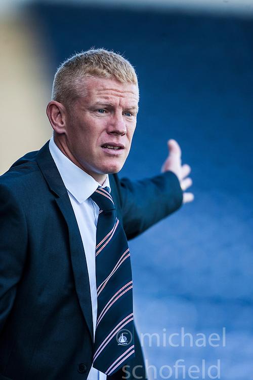 Falkirk's manager Gary Holt.<br /> Falkirk 3 v 0 Morton, Scottish Championship 17/8/2013.<br /> &copy;Michael Schofield.