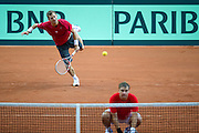 (L) Mariusz Fyrstenberg and (R) Marcin Matkowski of Poland during training session three days before the BNP Paribas Davis Cup 2013 between Poland and Australia at Torwar Hall in Warsaw on September 10, 2013.<br /> <br /> Poland, Warsaw, September 10, 2013<br /> <br /> Picture also available in RAW (NEF) or TIFF format on special request.<br /> <br /> For editorial use only. Any commercial or promotional use requires permission.<br /> <br /> Photo by &copy; Adam Nurkiewicz / Mediasport