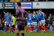 Portsmouth players celebrate Portsmouth defender Matt Clarke goal during the Sky Bet League 2 match between Portsmouth and Crawley Town at Fratton Park, Portsmouth, England on 2 January 2016. Photo by Adam Rivers.