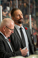 KELOWNA, BC - NOVEMBER 1: Prince George Cougars' assistant coach Jason Smith stands on the bench against the Kelowna Rockets at Prospera Place on November 1, 2019 in Kelowna, Canada. (Photo by Marissa Baecker/Shoot the Breeze)
