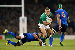 Ian Madigan of Ireland takes on the France defence - Mandatory byline: Patrick Khachfe/JMP - 07966 386802 - 11/10/2015 - RUGBY UNION - Millennium Stadium - Cardiff, Wales - France v Ireland - Rugby World Cup 2015 Pool D.