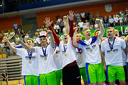 Players of National team of Slovenia celerate after handball match between National teams of France and Slovenia in Final of 2018 EHF U20 Men's European Championship, on July 29, 2018 in Arena Zlatorog, Celje, Slovenia. Photo by Urban Urbanc / Sportida