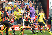 Watford FC goalkeeper Heurelho Gomes collects  the ball from an early Bournemouth free kick during the Barclays Premier League match between Bournemouth and Watford at the Goldsands Stadium, Bournemouth, England on 3 October 2015. Photo by Mark Davies.