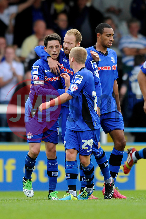 Rochdale's Ian Henderson celebrates with his team mates after scoring. - Photo mandatory by-line: Dougie Allward/JMP - Mobile: 07966 386802 23/08/2014 - SPORT - FOOTBALL - Manchester - Spotland Stadium - Rochdale AFC v Bristol City - Sky Bet League One