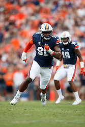 Auburn Tigers defensive lineman Nick Coe (91) during an NCAA football game against the Mississippi Rebels, Saturday, October 7, 2017, in Auburn, AL. Auburn won 44-23. (Paul Abell via Abell Images for Chick-fil-A Peach Bowl)