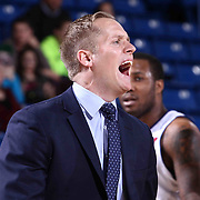 Delaware 87ers Head Coach Kevin Young yells for a timeout in the second half of a NBA D-league regular season basketball game between the Delaware 87ers and the Idaho Stampede (Utah Jazz) Tuesday, Feb. 03, 2015 at The Bob Carpenter Sports Convocation Center in Newark, DEL