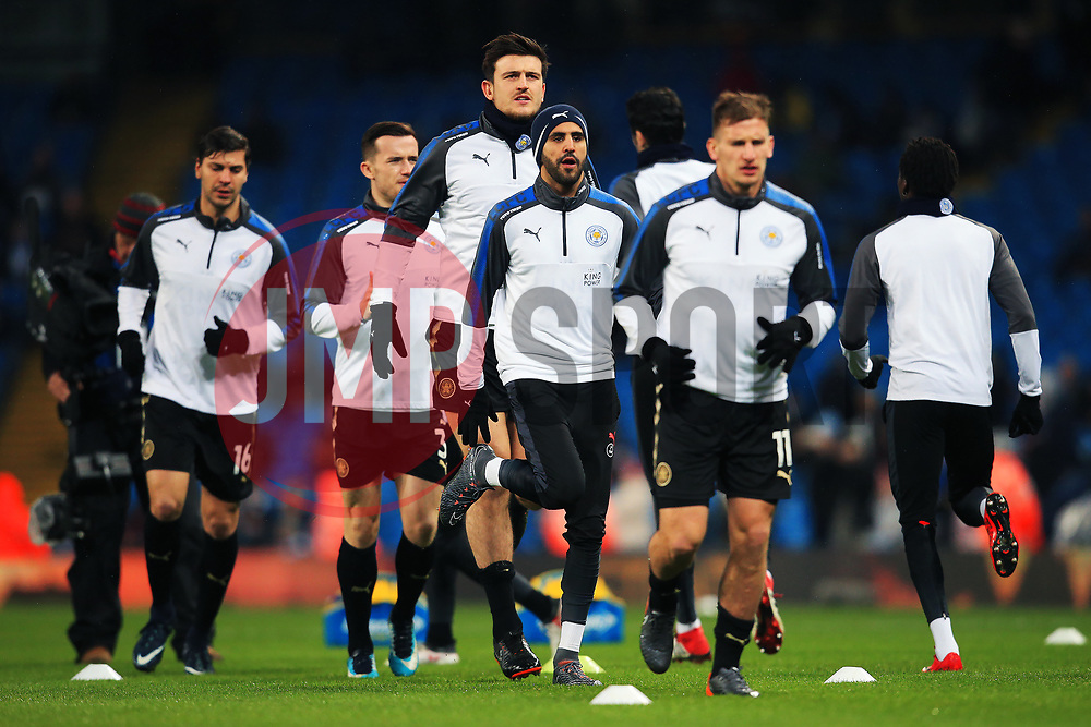 Riyad Mahrez of Leicester City warms up with teammates - Mandatory by-line: Matt McNulty/JMP - 10/02/2018 - FOOTBALL - Etihad Stadium - Manchester, England - Manchester City v Leicester City - Premier League