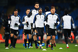 Riyad Mahrez of Leicester City warms up with teammates - Mandatory by-line: Matt McNulty/JMP - 10/02/2018 - FOOTBALL - Etihad Stadium - Manchester, England - Manchester City v Leicester City - Premier League