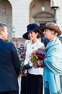 04.10.2016. Copenhagen, Denmark.  <br /> Crown Prince Frederik, Crown Princess Mary, Princess Benedikte leaves the parliament in Christiansborg Palace.<br /> Photo: &copy; Ricardo Ramirez