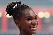 Dina Asher-Smith (Great Britain), smiling, Winner of the Women's 200 Metres during the 2019 IAAF World Athletics Championships at Khalifa International Stadium, Doha, Qatar on 2 October 2019.
