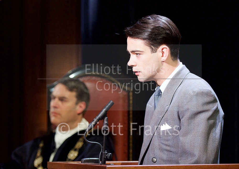 Witness for the Prosecution by Agatha Christie <br /> at London County Hall, Southbank, London, Great Britain <br /> press photocall <br /> 20th October 2017 <br /> <br /> directed by Lucy Bailey <br /> <br /> Leonard Vole as Jack Mullen <br /> <br /> <br /> <br /> <br /> <br /> Photograph by Elliott Franks <br /> Image licensed to Elliott Franks Photography Services