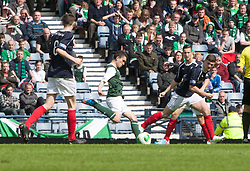 Hibernian's Alex Harris scoring their first goal..Hibernian 4 v 3 Falkirk, William Hill Scottish Cup Semi Final, Hampden Park..©Michael Schofield..