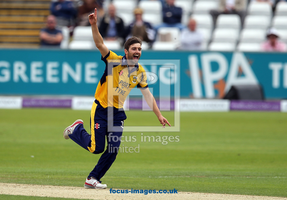 Mark Wood of Durham CCC celebrates the wicket of Alex Lees (not shown) of Yorkshire Vikings during the Royal London One Day Cup match at Emirates Riverside, Chester-le-Street<br /> Picture by Simon Moore/Focus Images Ltd 07807 671782<br /> 31/07/2016