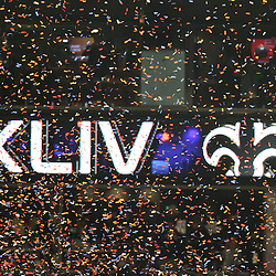 2010 February 07: Confetti falls as a screen flashes a New Orleans Saints Super Bowl Champions graphic following a 31-17 win by the New Orleans Saints over the Indianapolis Colts in Super Bowl XLIV at Sun Life Stadium in Miami Gardens, Florida.