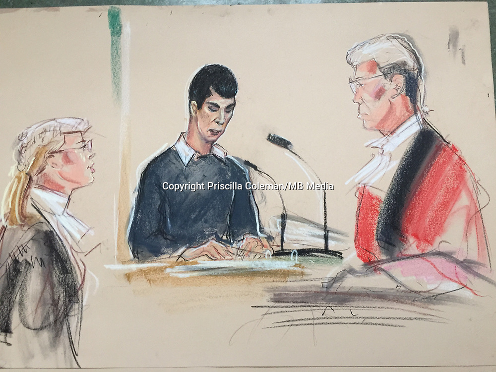 Old Bailey, London 13 March 2018,<br /> Iraqi assylum seeker Ahmed Hassan is seen here in court sketches from the Old Bailey.<br /> Hassan has denied attempted murder and using the chemical compound TATP to cause an explosion that was likely to endanger life