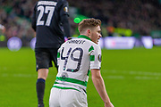 James Forrest of Celtic FC on his knees during the Europa League match between Celtic and FC Copenhagen at Celtic Park, Glasgow, Scotland on 27 February 2020.
