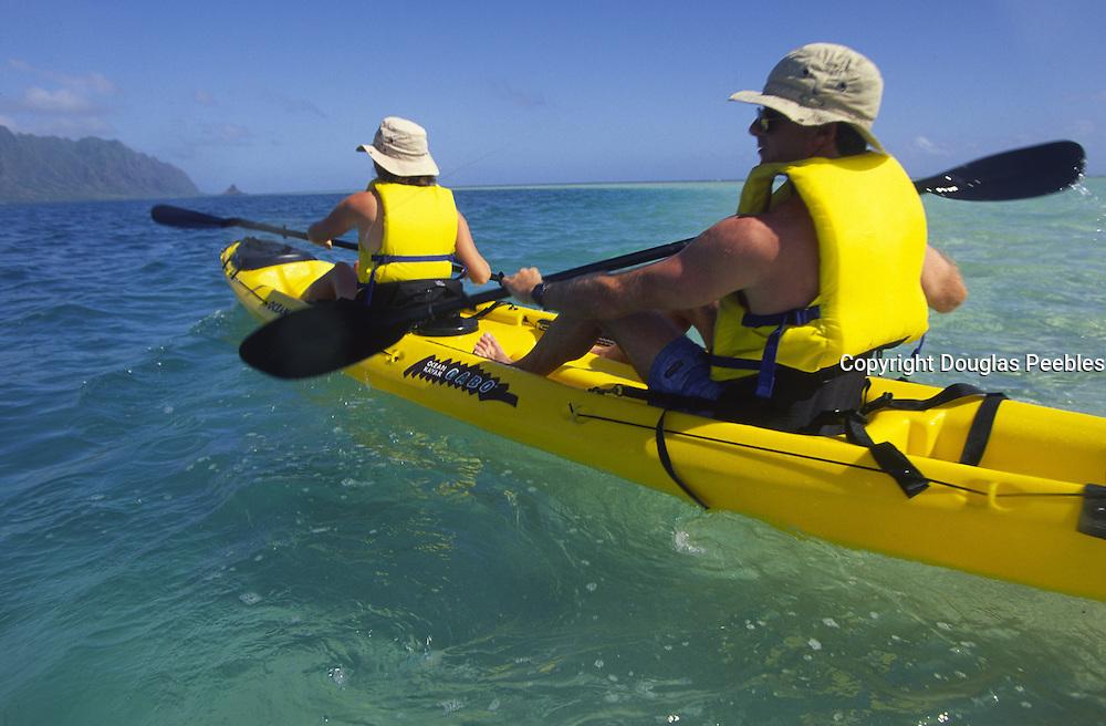 Kayaking, Kaneohe Bay, Oahu, Hawaii<br />