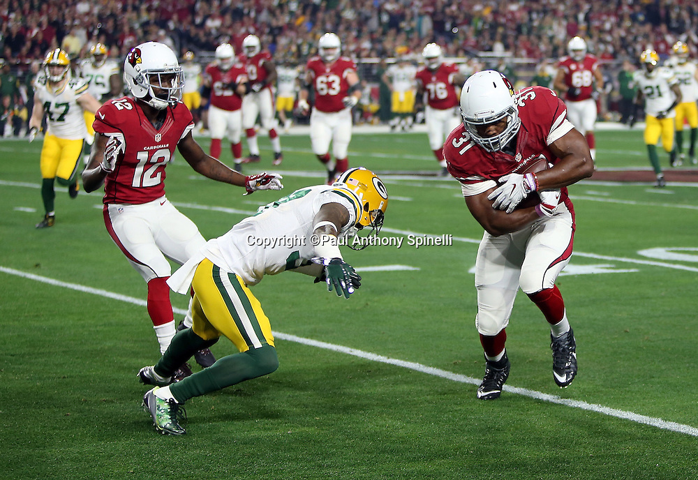 Arizona Cardinals rookie running back David Johnson (31) tries to avoid a tackle attempt by a defender as he looks for yards after a catch on a first quarter pass reception for a first down during the NFL NFC Divisional round playoff football game against the Green Bay Packers on Saturday, Jan. 16, 2016 in Glendale, Ariz. The Cardinals won the game in overtime 26-20. (©Paul Anthony Spinelli)