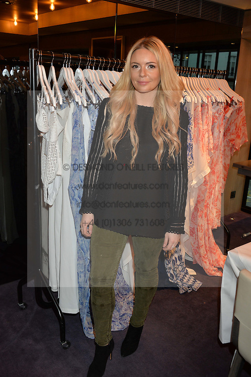 LONDON, ENGLAND 2 DECEMBER 2016: <br /> Georgia Thompson Founder & Creative Director of EVARAE at a breakfast attended by a host of influencers, press and VIPs to celebrate the official launch of EVARAE the new British luxury resort wear brand, held at The Hari Hotel, 20 Chesham Place, London.  England. 2 December 2016.